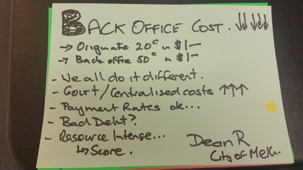 Back office cost
